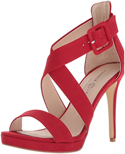 Chinese Laundry Women's Foxie Heeled Sandal, Lollipop RED Suede, 7.5 M US