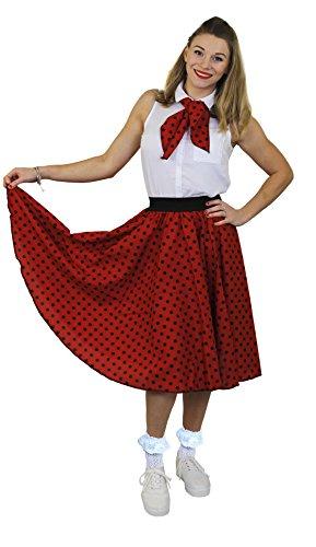 I LOVE FANCY DRESS LTD Jupe Longue pour Adulte Rouge à Pois Noirs Style Rock'n Roll des années 50 avec Un Petit Foulard Assorti. Idéal pour Les Spectacles de Danse. ( Plus Size )