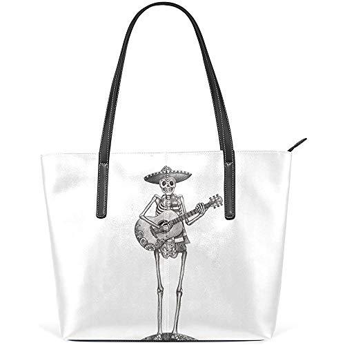 G.H.Y Zuckerschädel Gitarre Retro PU Leder Schultertasche Handtasche für Frauen Mädchen