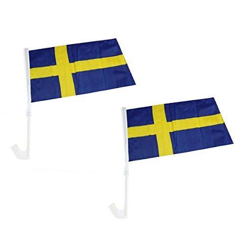 Sonia Originelli 2er Set Auto Flagge Fahne WM Länder Fußball Fan Farbe Schweden