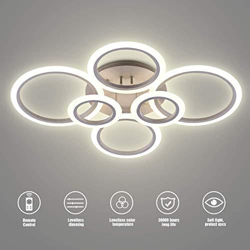 Vander Life LED-Deckenleuchte, 72 W, 6400 lm, Weiß, 6 Ringe, Beleuchtung für Wohnzimmer, Schlafzimmer, Esszimmer, dimmbare Fernbedienung, 3 Farben