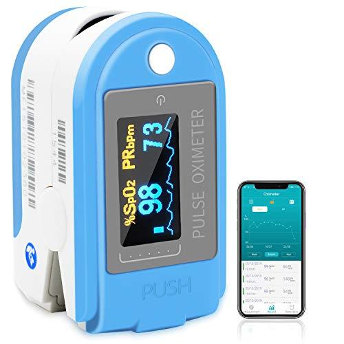 Pulsossimetro Bluetooth Dito con APP di Salute, 1byone Saturimetro Ossimetro Monitor di Saturazione...