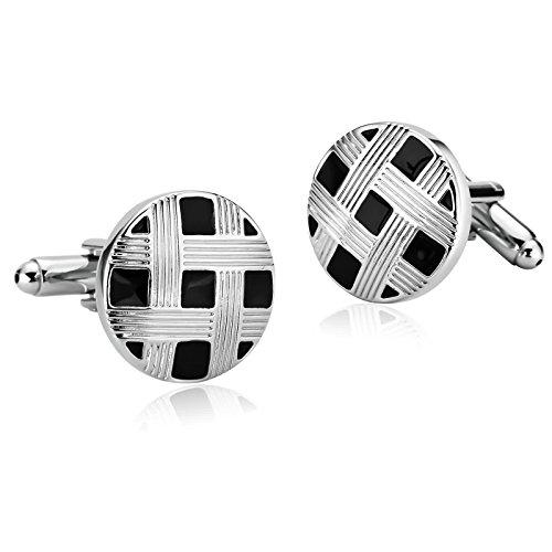 Adokiss Gemelos de acero inoxidable para hombre, redondos, plata y negro, 0,8 x 0,8 cm, regalo de San Valentín, regalo de cumpleaños para padre