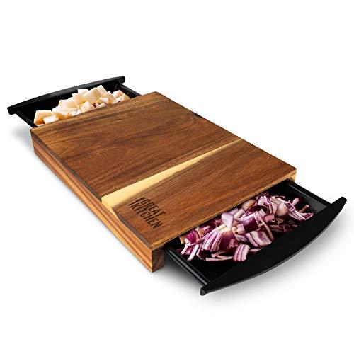 GreatKitchen,Schneidebrett mit Auffangschalen 39x26x4cm Hochwertiges Akazienholz, Anti-Rutsch Füße | Chopping Board für Zeiteffizientes Kochen&Schneiden