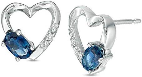 0.25 CT Oval Created Blue Stud Diamond Sapphire Earrings Heart shopping Translated