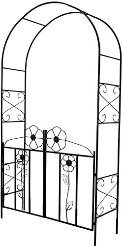CDFCB Arbours Jardín Hierro Arco Decorativo Planta Marco de Escalada (con Puerta) Terraza Exterior Terraza Rosa Metal Pérgola Usado para Plantas de Escalada 114L x 37W x230h cm