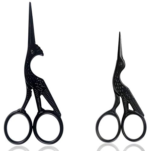 BIHRTC 4.5 Inch Black Scissors and 3.6 Inch Embroidery Sewing Scissors Sharp Stork Bird Design Scissors Dressmaker Small Shears for Embroidery Sewing Craft Artwork Needlework DIY Tools