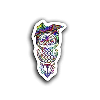 JMM Industries Hippie Owl Decal Motivation Inspiration Cute Tie Dye Zentangle Pattern 5.5-Inches by 3-Inches Premium Quality Vinyl Sticker UV Protective Laminate PDS2107