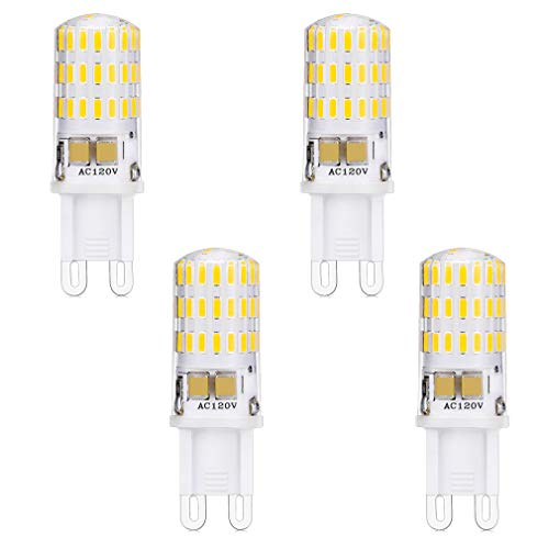 LXcom 5W G9 LED Bulb 46LEDS Corn Light Bulbs(4 Pack)- Daylight White 6000K Led Chandelier G9 Bulb 50W Halogen Bulb G9 Base Lights for Chandelier,Ceiling Fan,Under Cabinet Puck Lighting,AC110V