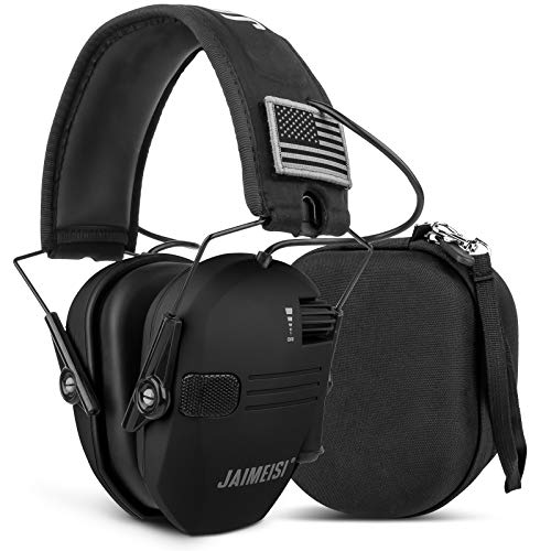 Electronic Shooting Earmuffs Tactical Slim Ear Hearing Protection Headphones for Gun Range with Storage Case 24db NRR