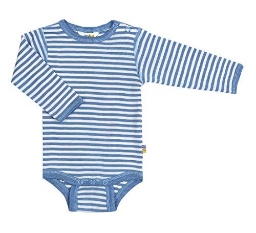 Joha - Body Manches Longues Soie en Laine mérinos et Soie en Bleu rayé - Bleu, 50 (0-1 Mois)