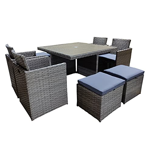 TA Direct Cotswold 9 Piece 8 Seater Rattan Cube Dining Table Garden Furniture Patio Set