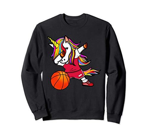 Funny Dabbing Unicorn かわいいダビングユニコーン ポーランド バスケット ボール ポーランドの旗 トレーナー
