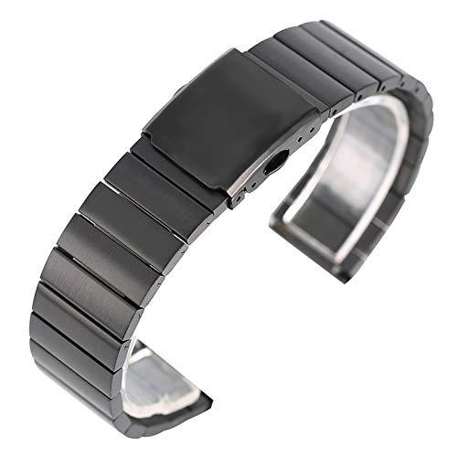 DFKai1run Correa de acero inoxidable, 18/20/22 / 24mm de acero inoxidable reloj de la manera del reloj de la banda ajustable correas de metal sólido brazalete pulsera Enlace Bares 2 Spring Deportes de
