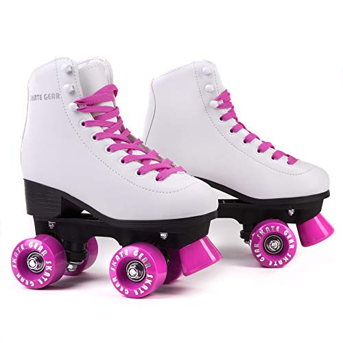 Cal 7 Roller Skates for Indoor & Outdoor Skating, Faux Leather Boot with Quad Design, Ankle Support Frame, Adults & Kids (Pink, Youth 1)