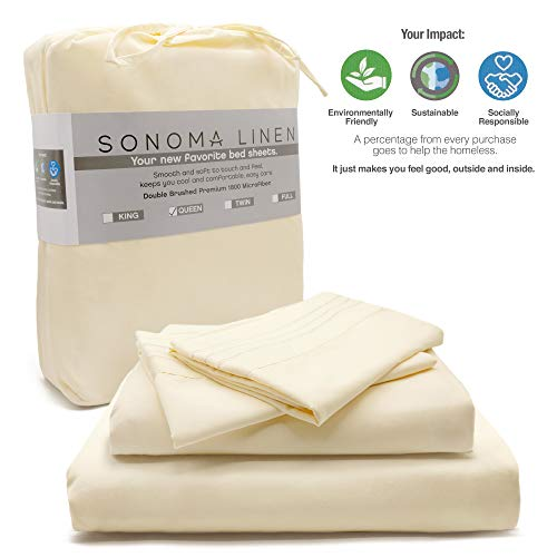 SONOMA LINEN Super Soft Bed Sheet Set (Cream Queen 4) Piece Microfiber 1800 T C Bedding Wrinkle Stain and Fade Resistant Breathable and Cooling Hotel Quality