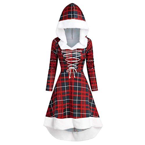 Luotuo Kleid Damen Plaid Langarm Kapuzen Kleid Vintage Plüsch Patchwork Asymmetrisch Hem Kleid Festival Party Cocktailkleid Winter Warme Hooded Kleid