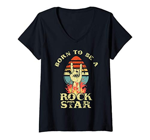 Femme Born To Be Rock Star Horns main Retro Vintage Rock and Roll T-Shirt avec Col en V