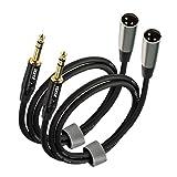 EBXYA 2 cables de interconexión de señal equilibrados XLR macho a jack TRS de 1/4 pulgadas, cable de conexión chapado en oro, 91 cm, color negro