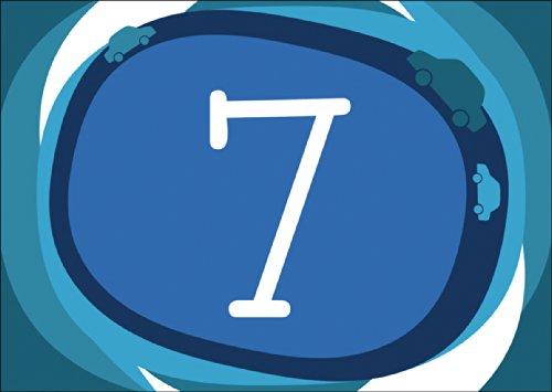 Coole blauwe wenskaart / verjaardagskaart voor de 7e verjaardag met auto's in blauw • ook voor directe verzending met uw tekst inlegger • mooie wenskaart met envelop voor beste vrienden en lievelingsmensen