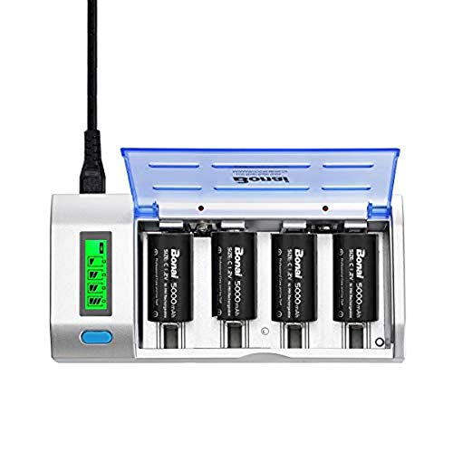 Rechargeable C Batteries with Charger, BONAI LCD Battery Charger for C D AA AAA 9V Ni-MH Ni-CD Rechargeable Batteries with 5000mAh C Rechargeable Cells (4-Counts)