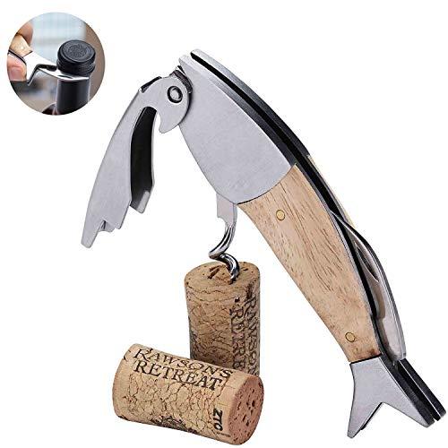 Bligo Kellnermesser Holz, 3 in 1 Premium Fischform Korkenzieher aus Edelstahl, Weinöffner mit Flaschenöffner & Folienschneider für Bier-, Wein- zum Sommeliers, Kellner & Barkeeper