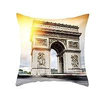 HJKLO 枕カバーノートルダムドパリクッションカバーリネンスロー枕車家の装飾装飾枕ケーススロー枕、TPR173,15,450mm * 450mm