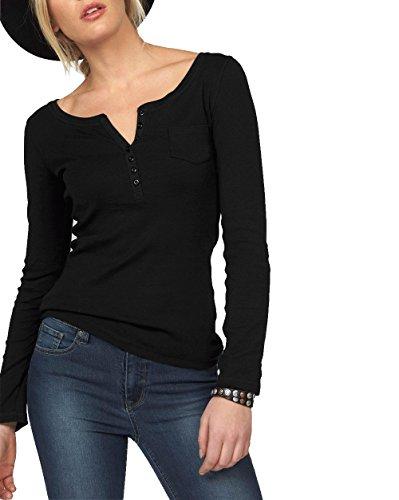 ELFIN Damen Langarmshirt Rundhals Leicht V-Ausschnitt Longsleeve T-Shirt Langarm Freizeit Oberteil Elegantes Stretchbar Henley Shirt Basic Tops, Schwarz, S