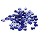 Houseables Glass Stone, Marbles, Pebbles for Vases, 5 LB, 400-500 Stones, Blue, Flat Bottom, Round Top, Rocks, Bowl Filler Gems, Iridescent Decor, Decorative Centerpieces, Florist Supplies, Aquarium