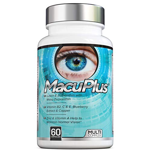MacuPlus Eye Supplement - 60 Capsules - Lutein, Zeaxanthin, Meso Zeaxanthin, Blueberry Extract Plus Vitamins and Minerals - 2 Months' Supply - Vegan Friendly