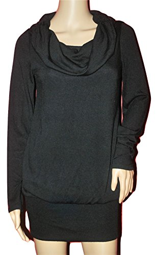 Ruby Rox Relaxed Cowl Sweater Dress Tunic Medium Black