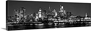 Canvas 2018 Philadelphia Skyline Night 16 inches x 46 inches Philly B&W City Photographic Panorama Print Picture