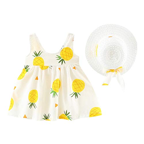 VEFSU Fashion Toddler Baby Kids Girls Sleeveless Pineapple Princess Floral Dresses Bow Hat Outfits Yellow 12-18 Months