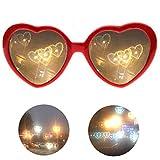 Pppby Gafas De Efectos Especiales En Forma De Corazón 3D Gafas Reflectantes Luces Cambiantes Genial Moda Regalos De Cumpleaños Fiesta Accesorios Fotográficos Luces Rojo