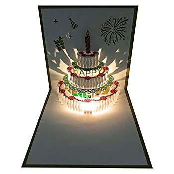 3D Pop Up Birthday Cards,Warming LED Light Birthday Cake Music Happy Birthday Card Postcards Pop Up Greeting Cards Laser Cut Happy Birthday Cards Best for Mom,Wife,Sister Boy,Girl,Friends 1 Pack