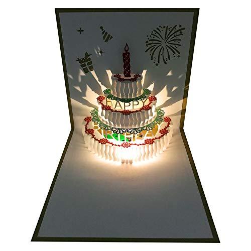 3D Pop Up Birthday Cards,Warming LED Light Birthday Cake Music Happy Birthday Card Postcards Pop Up...
