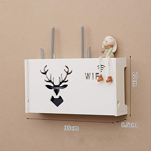 ZHAOYAN Router Rek Wandopknoping Wifi Plaatsing Rek Glasvezel Optische Kat Opbergdoos Hangende Muur Type 38 * 8,5 * 20 Wit