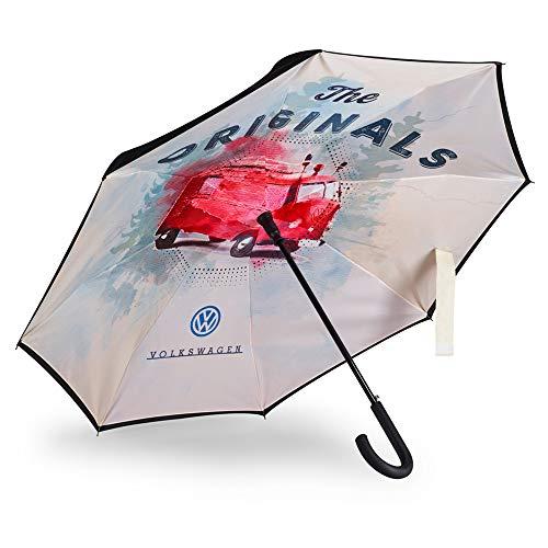 Volkswagen 1H2087600 Regenschirm T1 Bulli Motiv Schirm, Schwarz