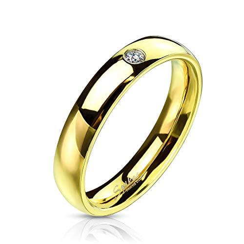 Coolbodyart acciaio anello unisex oro 4mm larghi Classic Line con Single zirconiMisura anello: 55 (17.5)
