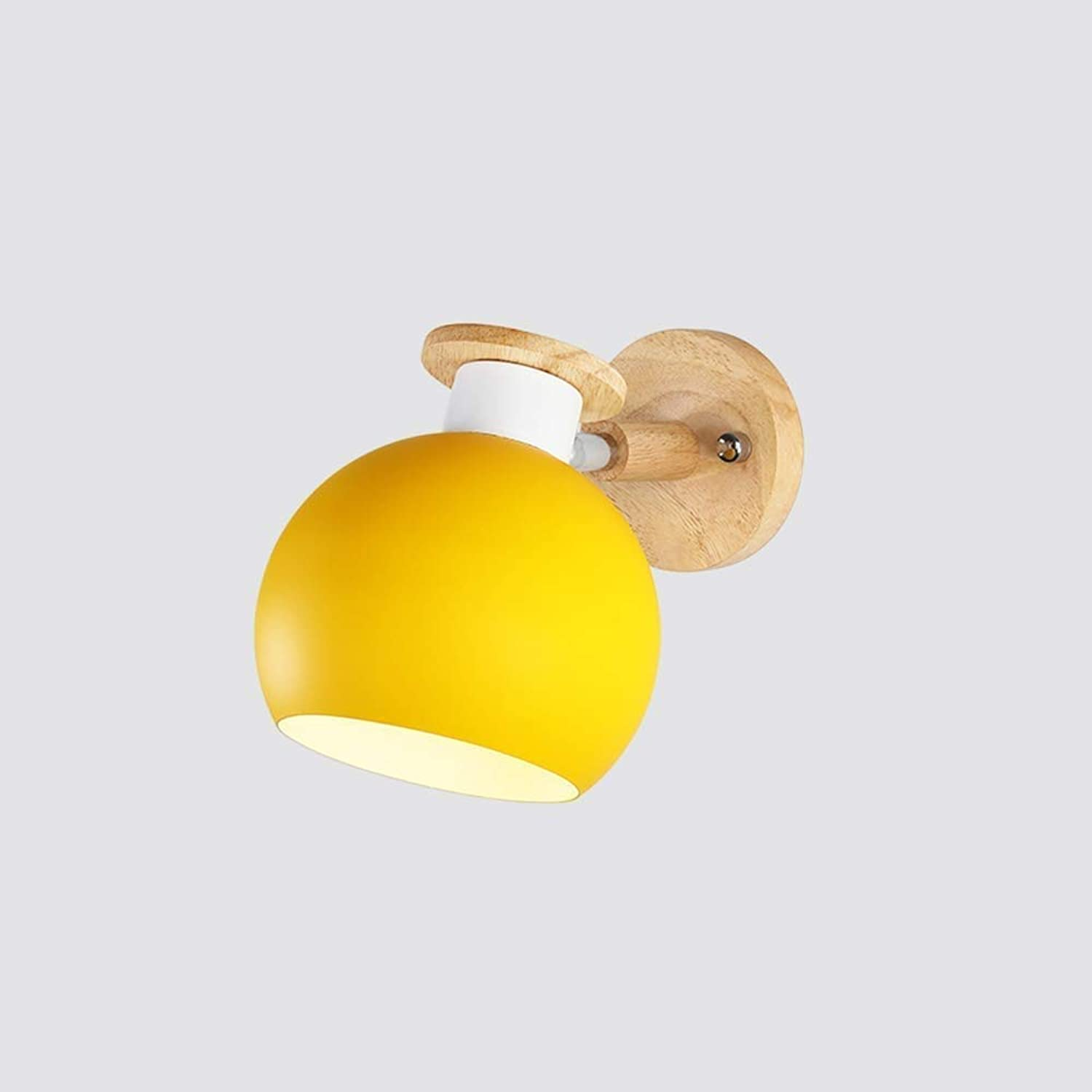 Perfect Home Nordic Wood Wall LED Lamps Metal Iron Wall Light for Bar Cafe Home Lighting Bedroom Bedside Light Home Decor Fixtures Modern E27 Single Head Wall Sconce (color   Yellow) Durable