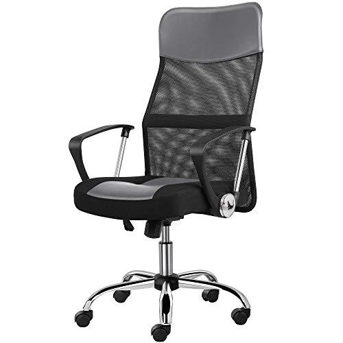 Yaheetech Bürostuhl, ergonomischer Schreibtischstuhl, atmungsaktiver Bürodrehstuhl, Computerstuhl mit hoher Netz-Rückenlehne, Office Chair Chefsessel höhenverstellbar Wippfunktion Grau