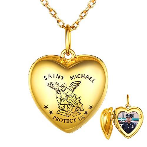 Custom4U Colgante Corazón Imagen Personalizable Collar Religioso San Miguel Plata de Ley 925 Chapado en Oro Amarillo 18K Joyería Romántica para Mejores Amigos