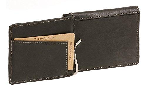LEAS Dollar- & Money Clip Geldscheinklammer m. Münzfach im Vintage-Style Echt-Leder, schwarz Vintage-Collection