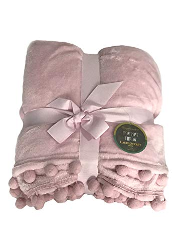 H&H Blush Pink Throw Fleece Blanket Sofa Couch Bed Snuggling Non Shredding Travel All Seasons Gift Warm Super Soft Pompom 150x200cm