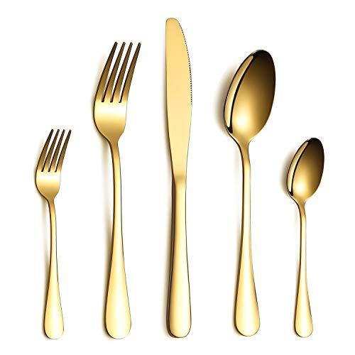 HOMQUEN Besteck Set, Gold Besteck Set, Edelstahl Set Service für 6 Personen, 30 Stück Esszimmer Besteck