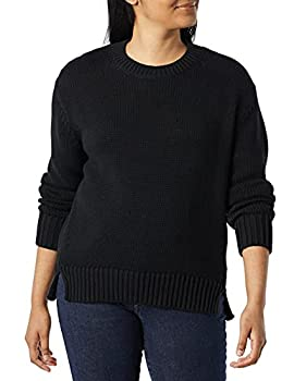 Amazon Brand - Daily Ritual Women s 100% Cotton Oversized Chunky Long-Sleeve Crew Pullover Sweater Black Small