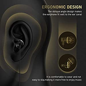 Vogek Earbuds, Tangle-Free Flat Cord Ergonomic in-Ear Headphones with Dynamic Crystal Clear Sound, Earphones with 3.5mm Jack, S/M/L Eartips Compatible with Samsung, Android Phone and More-Black