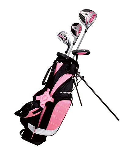 """Remarkable Girls Right Handed Pink Junior Golf Club Set for Age 3 to 5 (Height 3' to 3'8"""") Set Includes: Driver (15""""), Hybrid Wood (25, 7 Iron, Putter, Bonus Stand Bag & 2 Headcovers"""