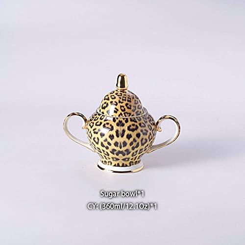 Juegos de té para Adultos Juego de café de Porcelana de Hueso con Estampado de Leopardo Juego de té de Porcelana Taza de cerámica Taza de cerámica Azucarero Tetera Tetera Vajilla,Juego de té Regalo