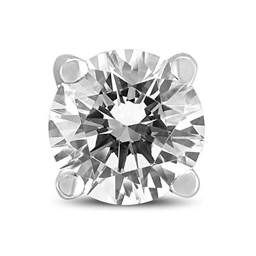 Pendiente de diamante redondo de 3/8 quilates para hombre en oro blanco de 14 quilates